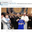Il presidente Massimo Ferrero con Papa Bergoglio