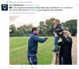 Il figlio del presidente Rocco Ferrero saluta Luis Muriel a Bogliasco.