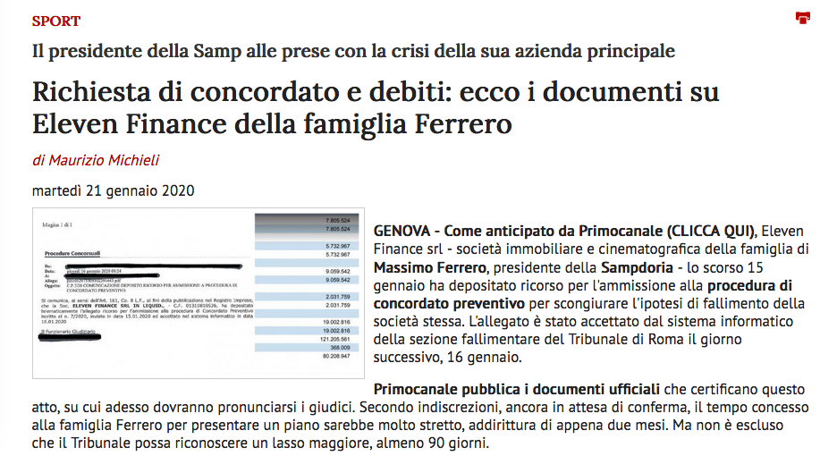 Ferrero vende la Sampdoria: incaricato un advisor