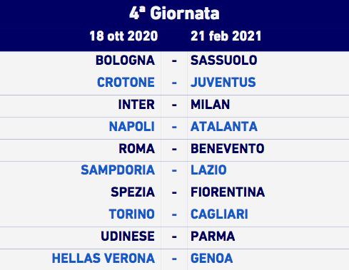 Serie A 2020 2021 Il Calendario Completo Blucerchiando