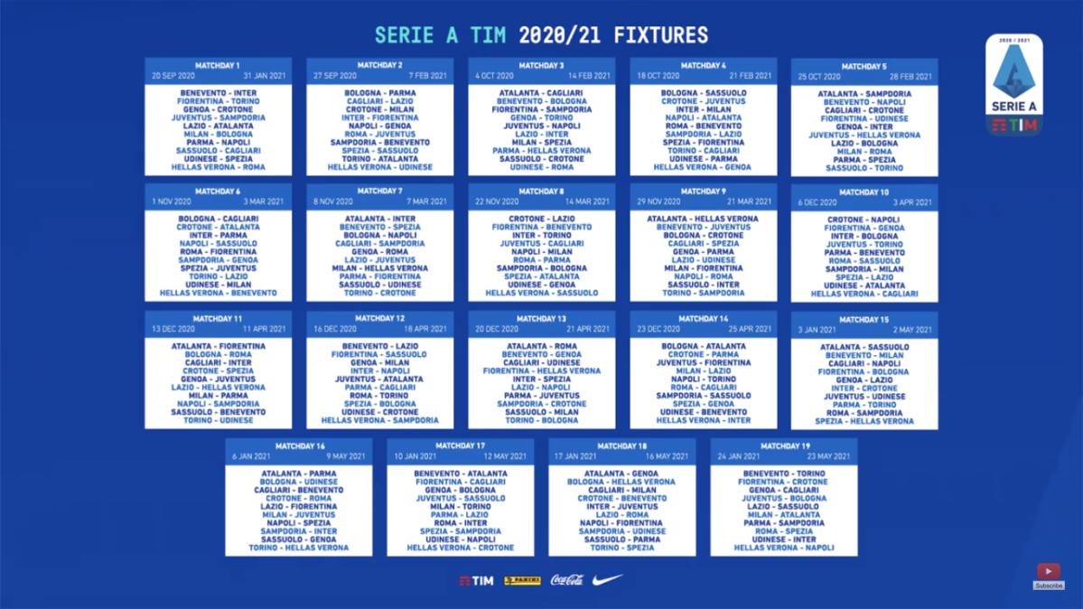 Serie A 2020/2021, il calendario completo – BLUCERCHIANDO